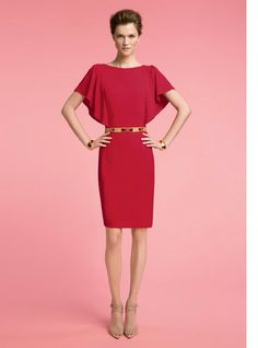St. John Knits - Venetian Red Dress + mystery shoes I love