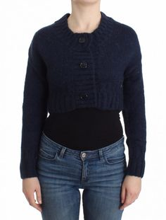 NEW $360 GALLIANO Black Wool Button Down Logo Cardigan Sweater Pullover Top s XL