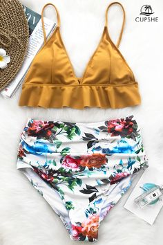 This fabulous bikini will definitely be the eye-catcher! This style features yellow triangle top with cute falbala details, and colorful rose-print high-waisted bottom. Provide you a more fashion beach look with comfy fit. Cute Bikinis, Cute Swimsuits, Two Piece Swimsuits, Cupshe Swimsuits High Waist, Flattering Swimsuits, Summer Bathing Suits, Cute Bathing Suits, Bandeau Bikini, Bikini Swimwear