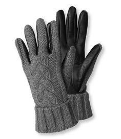 L.L. Bean Women's Cashmere Cable Driving Gloves
