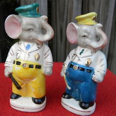 Vintage Elephant Policemen Salt Pepper Shakers Made in Japan | eBay
