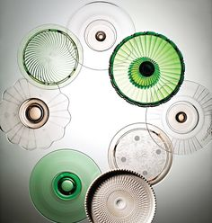 Often called Depression glass, this tinted tableware emerged during the 1930's when the country needed perking up (movie theaters regularly gave out glasses and pitchers made of colored pressed glass as freebies).