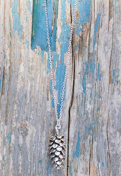 Silver PINE CONE Pendant Long Necklace Nature by redtruckdesigns