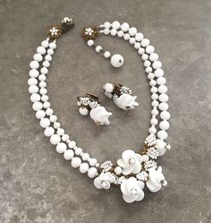 Signed MIRIAM HASKELL White Flower Necklace Earrings Set Beaded Necklace Set | Jewelry & Watches, Vintage & Antique Jewelry, Costume | eBay!