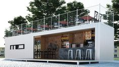 Looking to open a small business? Container Coffee Shop, Container Shop, Container House Plans, Container Design, Container Buildings, Container Architecture, Barndominium, Shipping Container Restaurant, Cafe Shop Design