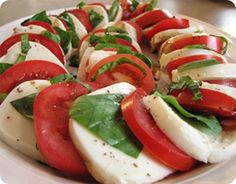 Caprese salad...if I ever had to request a last meal, this would be it. All it needs is some crusty Italian bread and infused olive oil for dipping.