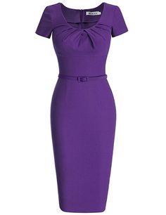 AmazonSmile: MUXXN Women's 1950s Vintage Short Sleeve Pleated Pencil Dress: Clothing