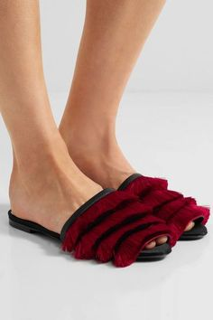 Slight heel  Red satin, black leather Slips on Made in Italy