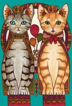 cute tabby cats painting