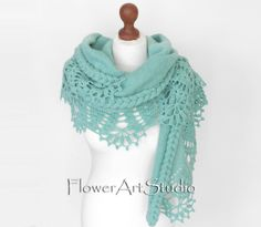 Knitted and Crocheted mint color shoulder shawl, wrap for brides. It will be a beautiful and warm wedding accessory what will warm your shoulders, but will not affect your hairstyle because owed around the shoulders. Enjoy the comfort and look elegant and beautiful. After the wedding you could wear everyday as a scarf. Brooch is just a sample, it is NOT for sale. Now 2 sizes are available,for ladies with more narrow shoulders 2 m/ 79 in inches and for ladies with wider shoulders 2.3 m/ 90.5 in i Bridal Shawl, Bridal Cape, Wedding Hair Clips, Wedding Wraps, Evening Shawls, Crochet Wedding, Crochet Shawl, Shawls And Wraps, Crochet Clothes