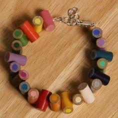 bracelet avec les restes de crayons des enfants !! marche aussi en collier, bague ou BO