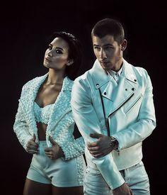 Demi and Nick Jonas - photo shoot for the future now tour