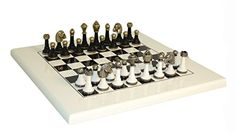 Wood and Metal Chess Set WhiteBlack >>> More info could be found at the image url.