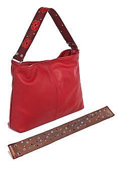Katie Kalsi Sophie Large Interchangeable Strap Shoulder Bag in red