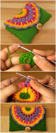 Learn To Crochet Purse With Colorful Flower