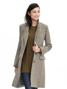 Plaid Three-Button Tailored Coat