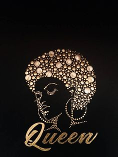 Gold Queen Afro Studs/Glitter Vinyl T-Shirt - Modern Black Love Art, Black Girl Art, My Black Is Beautiful, Black Girl Magic, Art Girl, Beautiful Oops, Red Black, African American Art, African Art