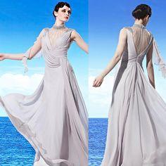 Designer Gray Grey Formal Goddess Evening Masquerade Ball Gowns Dresses SKU-122288