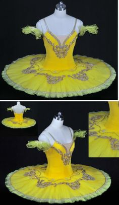 yellow velvet with two tone tulle and gold lace trim ;)