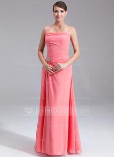 Bridesmaid Dresses - $109.99 - A-Line/Princess Cowl Neck Floor-Length Chiffon Bridesmaid Dress With Ruffle Beading Sequins (007001086) http://jjshouse.com/A-Line-Princess-Cowl-Neck-Floor-Length-Chiffon-Bridesmaid-Dress-With-Ruffle-Beading-Sequins-007001086-g1086