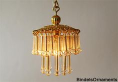 Hanging miniature lamp with glass bugles