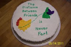 Going Away Cake - This was a cke that my son and I made for some friends that were moving from New Hampshire to Ohio. All decorations are in buttercream and the flowers are the state flowers lilacs and red carnations. Goodbye Cake, Goodbye Party, Goodbye Gifts, Pie Decoration, Decorations, Bon Voyage Cake, Moving Away Parties, Going Away Cakes, Farewell Cake