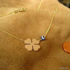 #Geschenkidee zum #Muttertag Halskette mit #Kleeblatt Anhänger in 333er Gelbgold & #Glücksauge, Glück Klee NEU