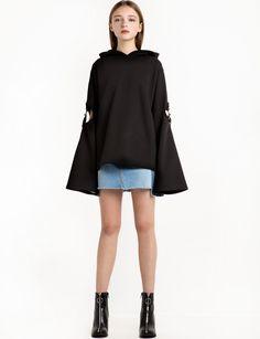 a0ad60c70b2 Black Cut Out Sleeve Sweatshirt Толстовки С Капюшоном