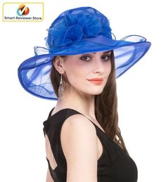 New Church Kentucky Derby Wedding Party Organza  Dress Hat 2967 Black//light gray