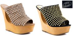 Steve Madden® Luccious wedged sandal. Viva la yummy! Slip-on mule style sandal.