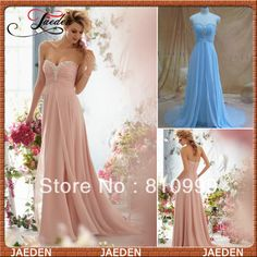 2014 New Simple Long Pleated Bodice Zipper Back Pink Chiffon Prom Dress $149.00