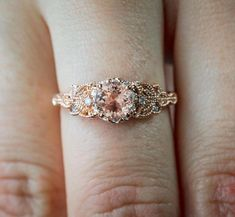 Wedding rings vintage - Limited Time Sale 1 25 Carat Peach Pink Morganite (Round Shaped Morganite) and Diamond Engagement Ring – Wedding rings vintage Wedding Rings Rose Gold, Wedding Rings Vintage, Rose Gold Engagement Ring, Engagement Ring Settings, Bridal Rings, Vintage Engagement Rings, Vintage Rings, Unique Wedding Rings, Celtic Engagement Rings