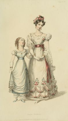 Ballgowns for women and girls, 1826 UK, Ackermann's Repository