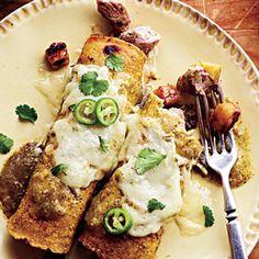 Pork and Plantain Enchiladas with Black Bean Puree | MyRecipes.com