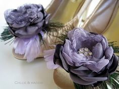 LAVENA  Amethyst flower and feather shoe clips by ChloeANDMaddie, $45.95
