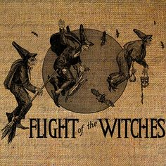Burlap Digital Download Witch Witches Flying Holiday by Graphique, $1.00