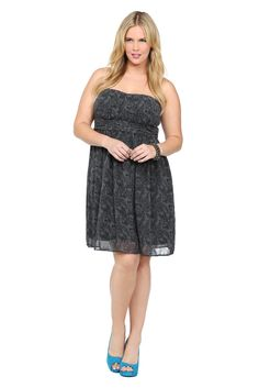 22900ebf988 Plus-Size Fashion · Grey Lace Print Chiffon Strapless Dress Lace Print