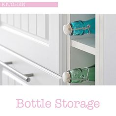 Fill your bottle storage with pretty pastel glass bottles for pretty eye candy. I like to fill mine with fresh water at dinner times and for making home-made cordials and flavour infused vodkas in for Diy Organisation, Infused Vodka, Pretty Pastel, Glass Bottles, Cabinet, Storage Ideas, Kitchen, Crafty, Furniture