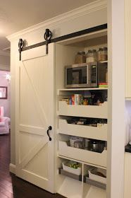 Barn Door Pantry with Slide-Out Shelves