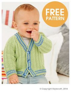 free pattern for this dressy baby cardigan made with Stylecraft Lullaby DK on US 3 knitting needles Baby Boy Knitting Patterns Free, Baby Sweater Knitting Pattern, Crochet Baby Cardigan, Knit Baby Sweaters, Baby Patterns, Crochet For Boys, Free Pattern, Barn, Babies