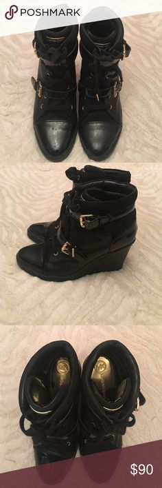 Michael Kors sneaker boots Michael kors sneaker boots patent leather and leather with gold detail 3 1/2-wedge heel worn 5 -6 times Michael Kors Shoes Ankle Boots & Booties