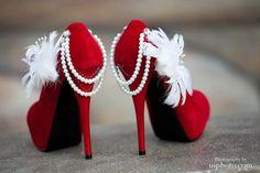 Stunning red wedding pumps. $100.00, via Etsy.