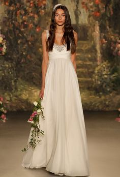 Brides: Jenny Packham. Silk chiffon gown with scoop neckline and metallic beading details.
