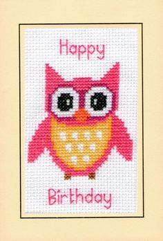 Happy Birthday Cross Stitch A6 Card Kit 14 Count Regal Kingfisher Anchor