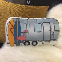 NEW IN THE SHOP!  Custom handmade pillow by SF artist Katy Kristin Bowen: http://airstreambrands.com/collections/frontpage/products/airstream-handmade-pillow
