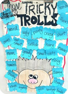 Read a trolls story then have some fun with this tricky trolls character description board!