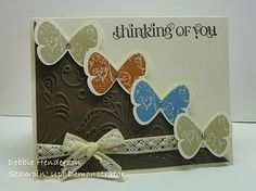 Butterfly Prints, Curly Cute, Elegant Lines embossing folder, & Chantilly Crochet Trim. Thanks Debbie!