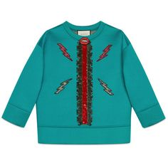 Gucci Sequin Embroidered Cotton Sweatshirt (4,765 SAR) ❤ liked on Polyvore featuring tops, hoodies, sweatshirts, turquoise, 3/4 sleeve tops, sequin sweatshirt, blue top, sequin top and embroidered sweatshirts