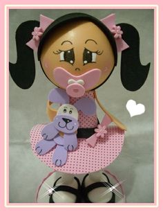 little baby girl w/pacifier holding her little puppy statue, done in fun foam and clay...great for a birthday or for a bedroom theme