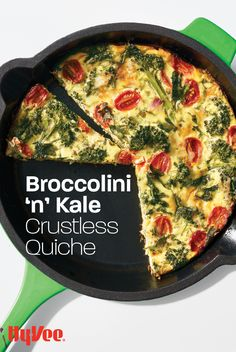 A delicious quiche without the carb-filled crust! Add baby kale, broccoli, grape tomatoes, and more for a nutrition-packed quiche perfect for any breakfast. Homemade Breakfast, Allrecipes, Kale, Quiche, Tomatoes, Broccoli, Brunch, Vegetarian, Nutrition